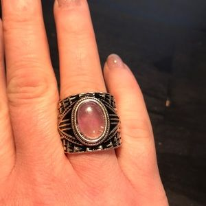 Jewelry - Size 9 silvertone ring with purple stone